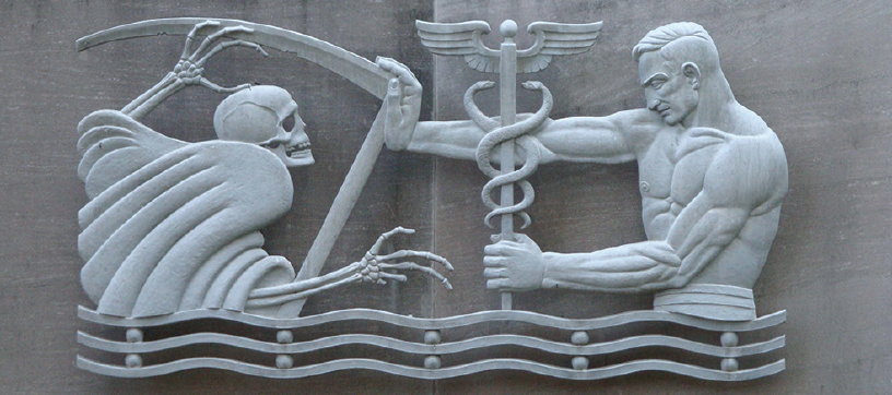 "<p>Figure. The concept of the doctor as a superhuman master over death is not new. In Julian Hoke Harris' sculpture ""Keeping Back Death,"" a physician wields the Rod of Asclepius (depicted as a caduceus) to fend off the personification of death.</p>"